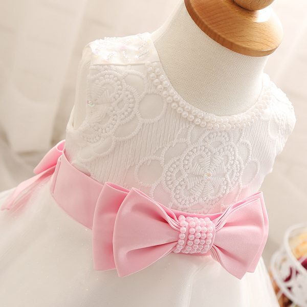 WFRV Baby Girl Children Naming Baptism Christening Church White Lace Pink Bow Gown Dress