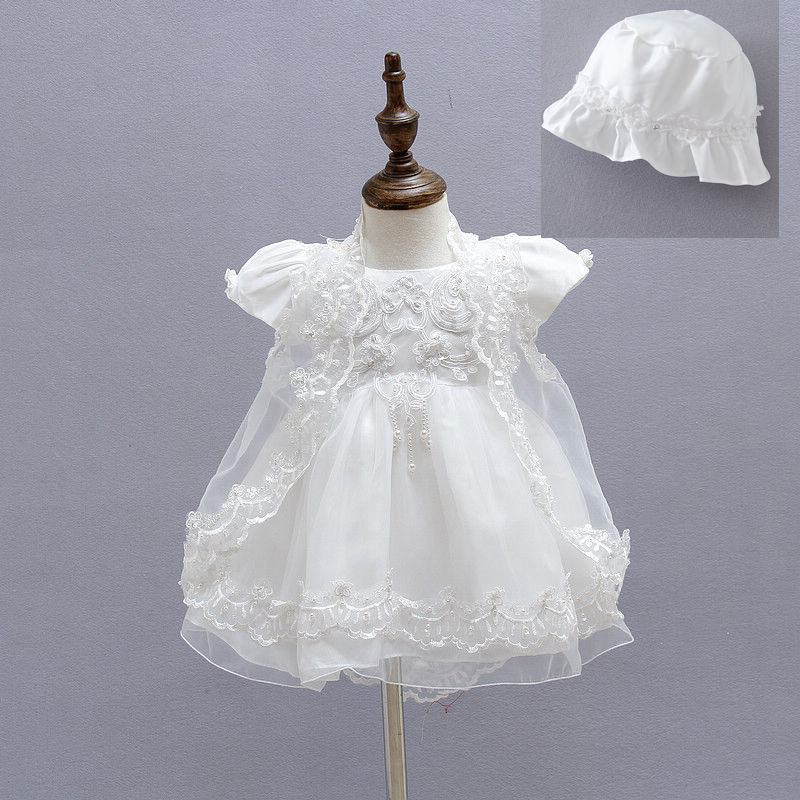 DMFGD Baby Girl Naming Baptism Christening Church 2 Piece White Lace Gown Dress