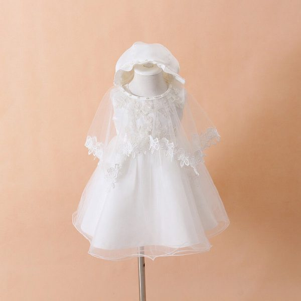 HETISO Baby Girl Naming Baptism Christening Church 2 Piece Set White Lace Gown Dress