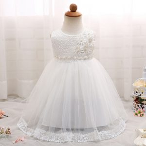 JXDHN Baby Girl Children Naming Baptism Christening Church Flower White Lace Gown Dress