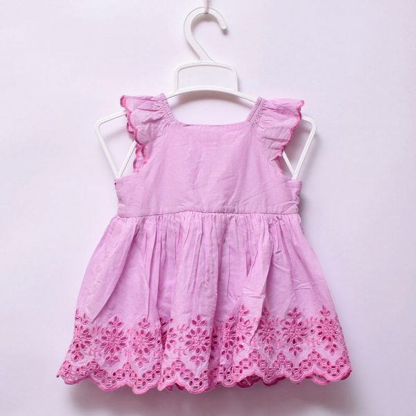 Baby Gap Girls Hot Summer 100% Pure Cotton 2 Piece Set Embroidery Baby Pink Dress