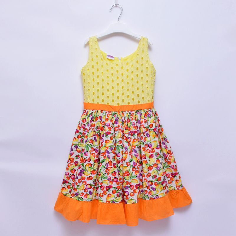Little Miss Girls Sleeveless Mixed Fruit Cotton Flare Dress