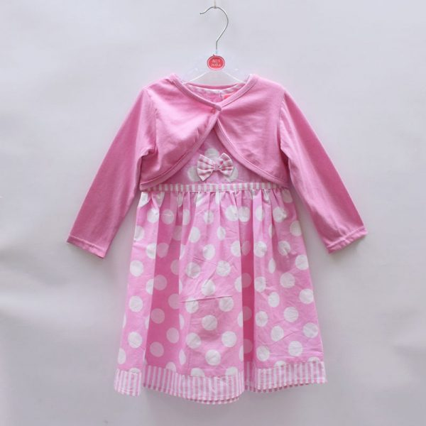 Mini Moi Girls Sleeveless Cotton Dress Baby Pink With 2 Bows