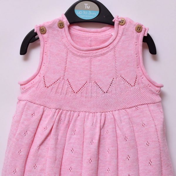 Tu Up To 3 Months Baby Girl Casual Indoor Outdoor Sleeveless Soft Pink Weave Dress