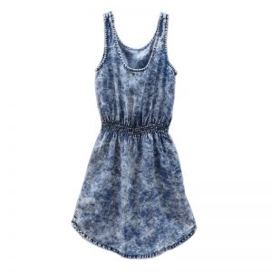 H&M Girls 9-10 Years Denim Jeans Blue Long Sleeveless Top