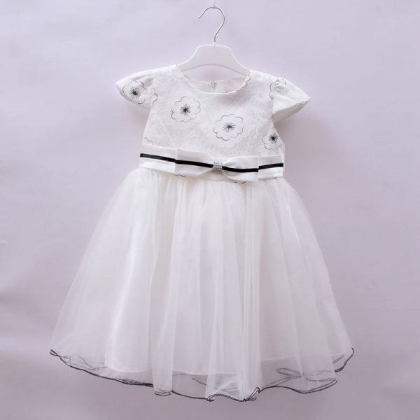 KCL London Girls Quality White Party Wedding Dress With Bow