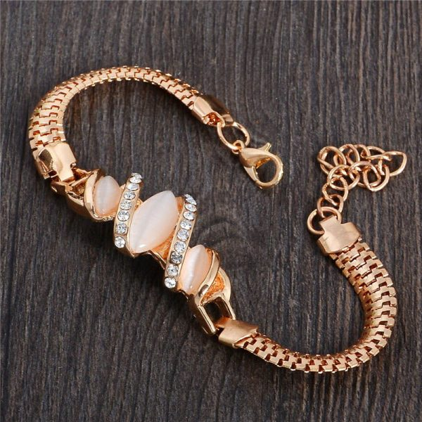 Ladies Women Gold Colour Trendy Austrian Crystal Bracelet