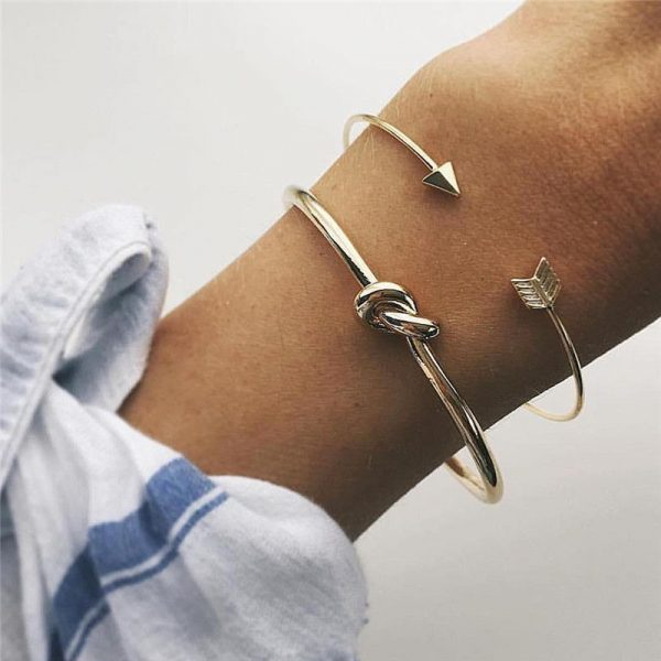 crazy feng 2 pcs slim simple arrow knot bangle women girls bracelets watch chains necklace earrings rings wrist neck jewellery engagement wedding promise fashion deluxe closet gh accra ghana 10