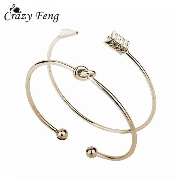 crazy feng 2 pcs slim simple arrow knot bangle women girls bracelets watch chains necklace earrings rings wrist neck jewellery engagement wedding promise fashion deluxe closet gh accra ghana 20