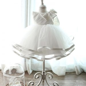 JXDHN Baby Girl Children Naming Baptism Christening Church White Lace With Bow Gown Dress