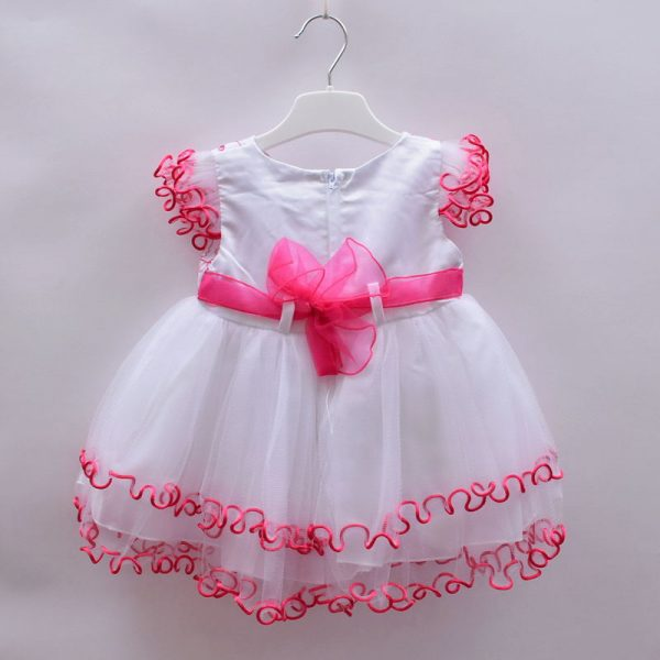 KCL London Baby Girls White Pink Lace Gown Dress With Hat