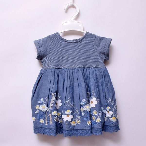 Next UK 6-9 Months Baby Girls Casual Outing Occasion Cotton Giraffe Floral Dress