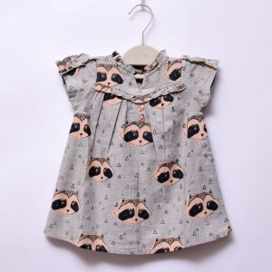 Next UK Baby Girls Outing Indoor Outdoor Casual Short Sleeve V-Neck Button Dress