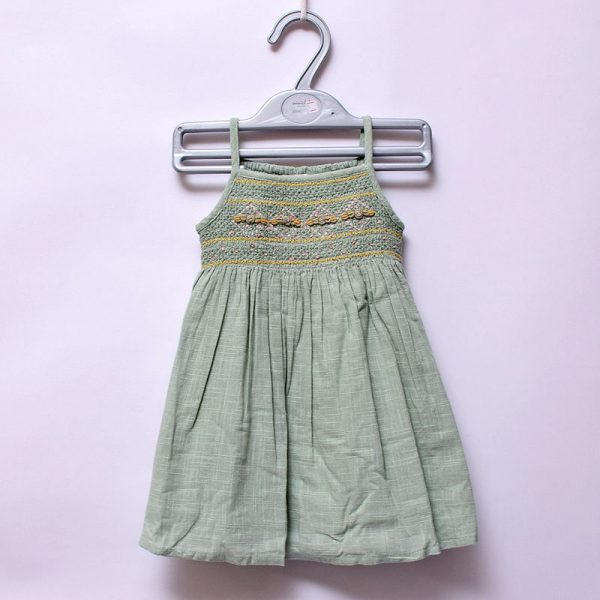 Next UK Baby Girls Summer Casual Indoor Outdoor Cotton Elastic Sleeveless Dress