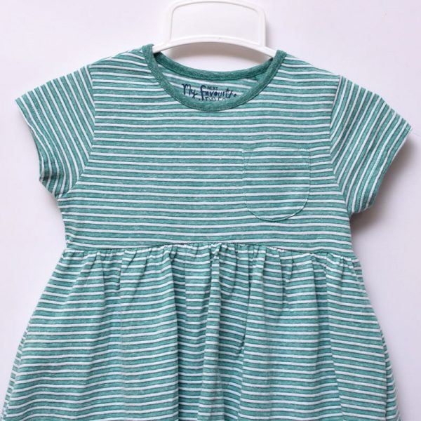 Next UK Toddler Baby Girls Play Casual Indoor Outdoor Round Neck Striped Dress