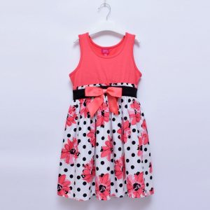 Pinky Girls Exotic Flower Sleeveless Cotton Dress With Bow