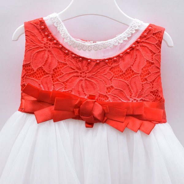 TIA London Baby Girls Red White Party Wedding Outing Dress