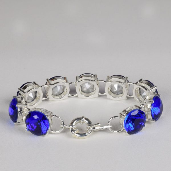 high quality silver colour blue crystal bracelet for women bracelets bangles jewelry jewellery charm chain link strand cuff wrap women men girls wedding fashion deluxe closet gh accra ghana 30