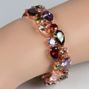 multi colour stone rose gold cubic zirconia women bracelet bracelets bangles jewelry jewellery charm chain link strand cuff wrap women men girls wedding fashion deluxe closet gh accra ghana 20
