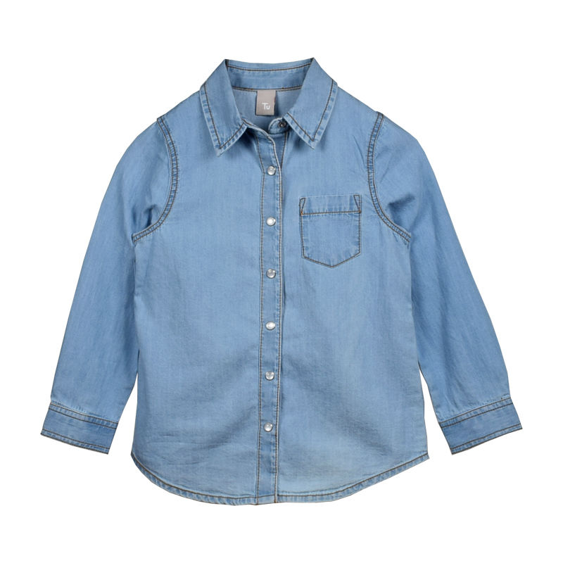 c7e43f55 tu uk 4 years old girls pure cotton blue long sleeve shirt longsleeve long  sleeve shirt